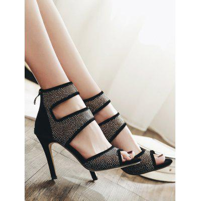 Hollow Out Mesh SandalsWomens Sandals<br>Hollow Out Mesh Sandals<br><br>Closure Type: Zip<br>Gender: For Women<br>Heel Height: 10CM<br>Heel Height Range: High(3-3.99)<br>Heel Type: Stiletto Heel<br>Occasion: Party<br>Package Contents: 1 x Sandals (pair)<br>Pattern Type: Patchwork<br>Sandals Style: Gladiator<br>Shoe Width: Medium(B/M)<br>Style: Leisure<br>Upper Material: Mesh,Suede<br>Weight: 1.5000kg