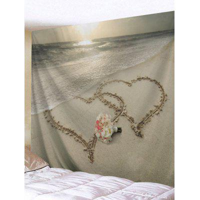 Beach Joint Heart Flowers Bunch Printed Tapestry