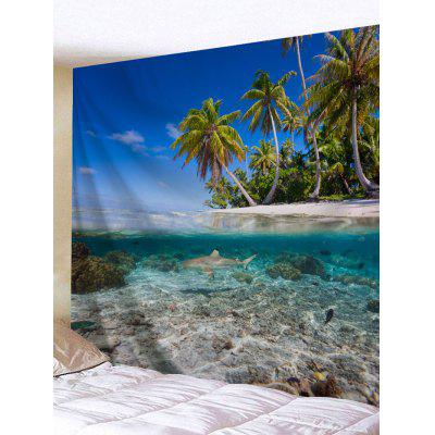 Buy Seaside Coconut Tree Printed Wall Tapestry COLORMIX for $16.45 in GearBest store