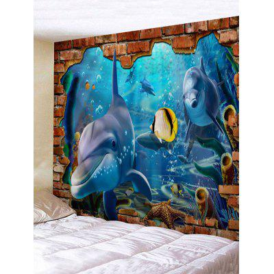 3D Submarine World Print Tapestry