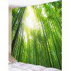 Bamboo Forest Print Tapestry Wall Hanging Decor - GREEN