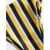 Striped High Cut Thong Bathing Suit - YELLOW AND BLACK