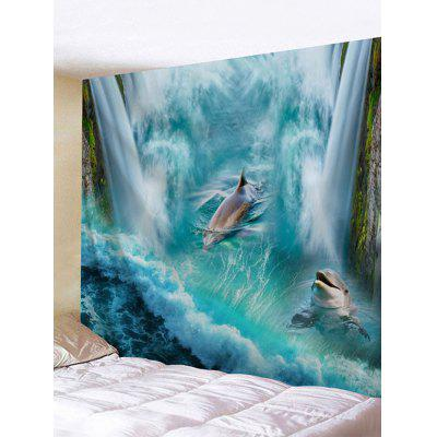 Buy 3D Dolphin Falls Print Tapestry Wall Hanging Decor LAKE BLUE for $14.00 in GearBest store