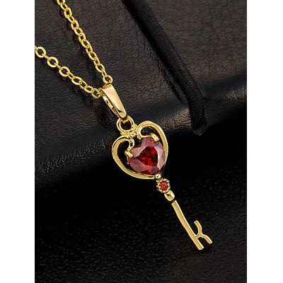 Faux gem heart key pendant necklace 279 free shippinggearbest faux gem heart key pendant necklace aloadofball Image collections