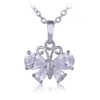 Faux Crystal Decorated Butterfly Pendant Necklace