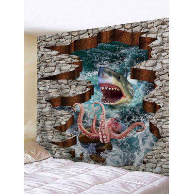 3D Ferocious Shark and Octopus Print Wall Art Tapestry