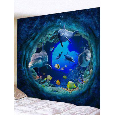 3D Dolphin Sea World Print Tapestry Wall Hanging Decor