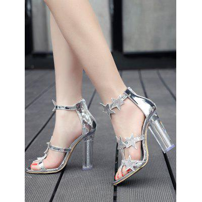 Stars Embellished Crystal High Heel SandalsWomens Sandals<br>Stars Embellished Crystal High Heel Sandals<br><br>Closure Type: Buckle Strap<br>Embellishment: Rhinestone<br>Gender: For Women<br>Heel Height: 10.5CM<br>Heel Height Range: High(3-3.99)<br>Heel Type: Chunky Heel<br>Occasion: Party<br>Package Contents: 1 x Sandals (pair)<br>Pattern Type: Star<br>Sandals Style: Ankle Strap<br>Shoe Width: Medium(B/M)<br>Style: Fashion<br>Upper Material: PU<br>Weight: 1.5000kg