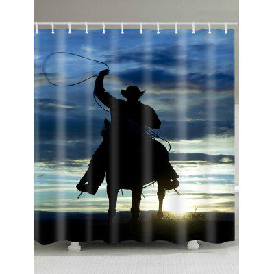Alone Horseman Pattern Waterproof Shower Curtain