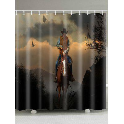 Horseman Looking Down Pattern Waterproof Shower Curtain
