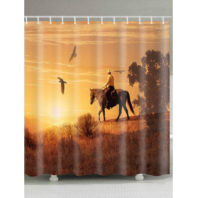 Sunset Herdsman Pattern Waterproof Shower Curtain