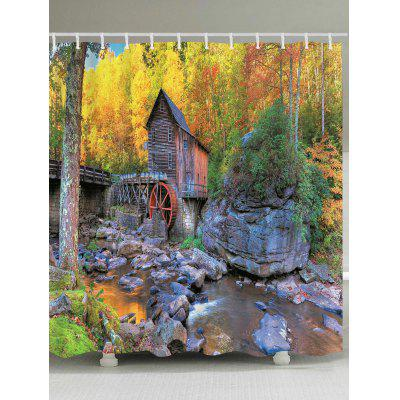 Forest Stream House Pattern Waterproof Bath Curtain