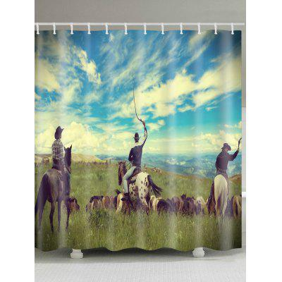 Three Herdsmen Pattern Waterproof Shower Curtain