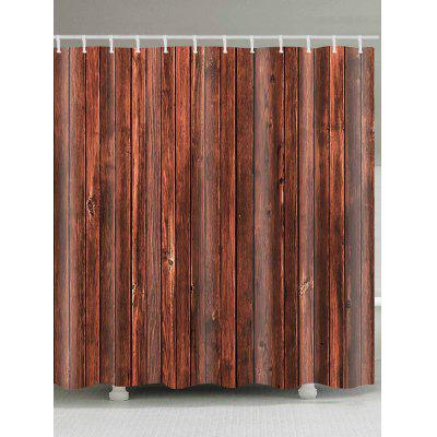 Retro Wood Flooring Pattern Waterproof Bath Curtain