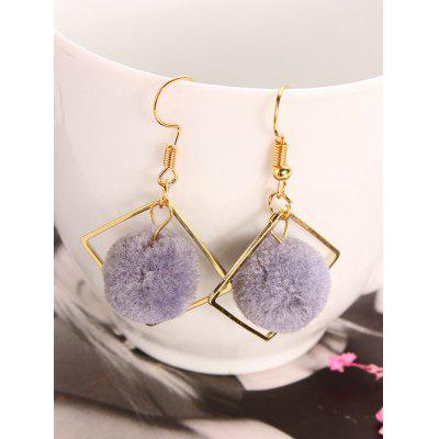 Hollow Square Faux Fur Ball Drop Earrings