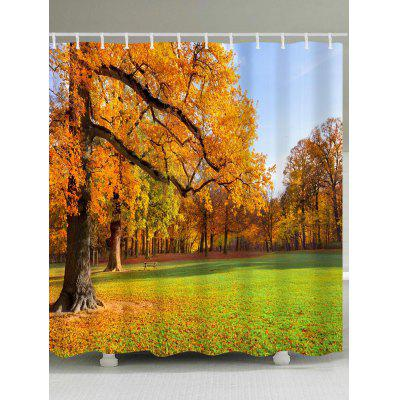 Maple Forest Pattern Waterproof Bath Curtain