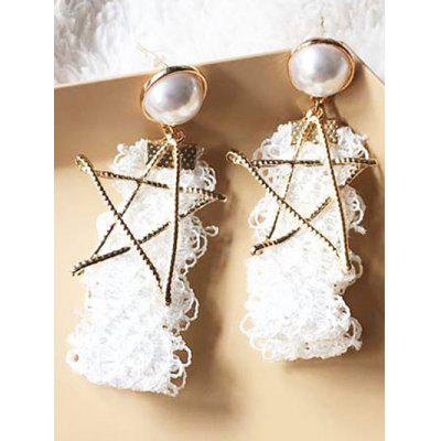 Vintage Faux Pearl Star Drop Earrings