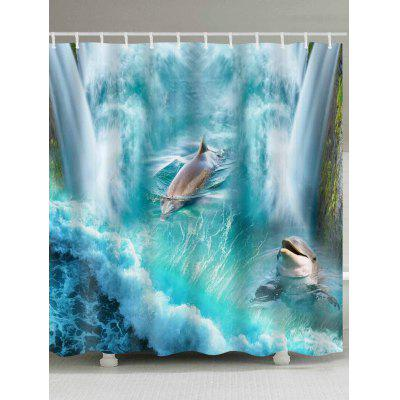 3D Dolphin Falls Print Polyester Shower Bath Curtain