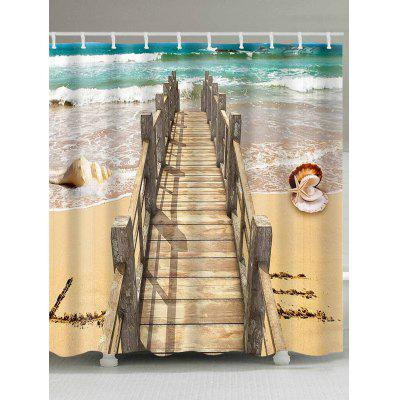 Wood Bridge Beach Shell Print Shower Bath Curtain
