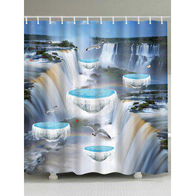3D Waterfall Flying Birds Print Waterproof Bath Curtain