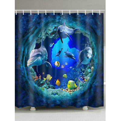 3D Sea World Dolphin Print Bath Shower Curtain
