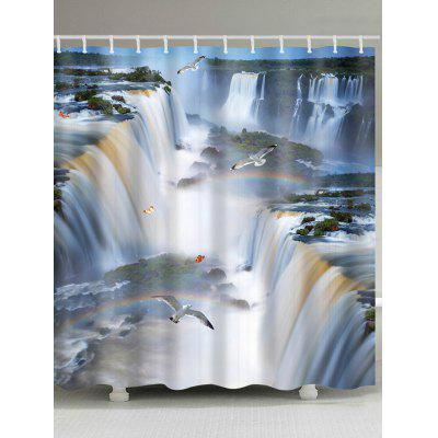 3D Waterfalls Print Shower Curtain