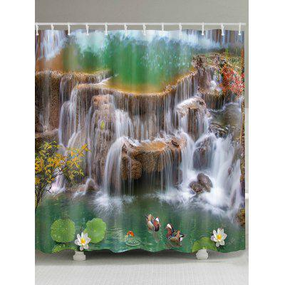 Mandarin Duck Falls Lotus Print Bath Shower Curtain