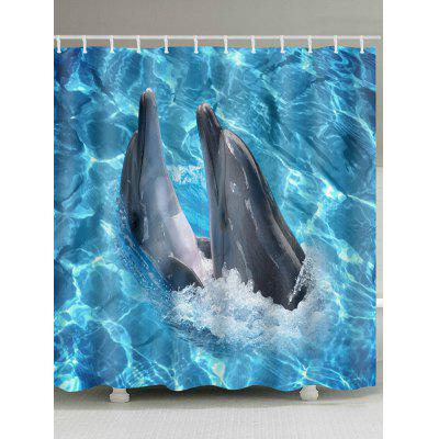 Dophins Playing in Sea Print Shower Curtain