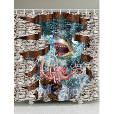 3D Shark Octopus Print Shower Curtain