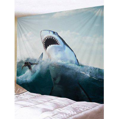 Ferocious Shark and Surfer Print Wall Art Tapestry