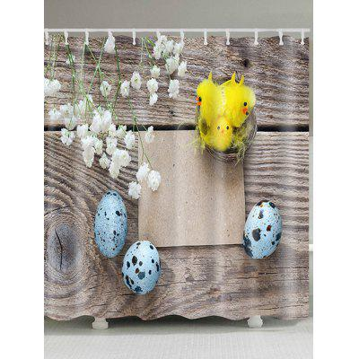 Easter Flower Egg Print Waterproof Shower Curtain