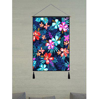 Colorful Flower Leaves Print Wall Art Tassel Hanging Picture