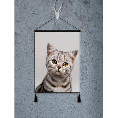 Cat Pattern Wall Art Hanging Painting Tassel Decoration