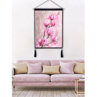 Blooming Flowers Printed Wall Decor Tassel Hanging Painting