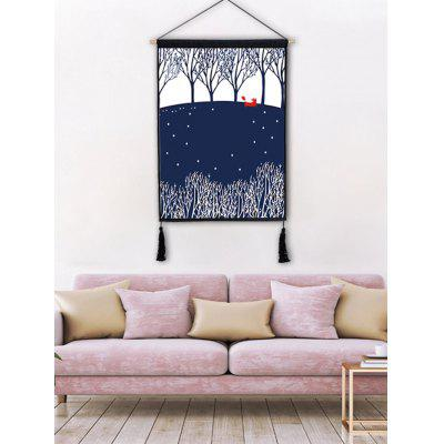 Forest Printed Wall Background Tassel Hanging Painting