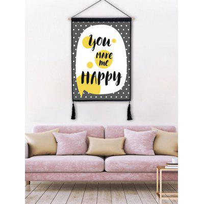 Round Dots Word Printed Wall Art Tassel Hanging Painting