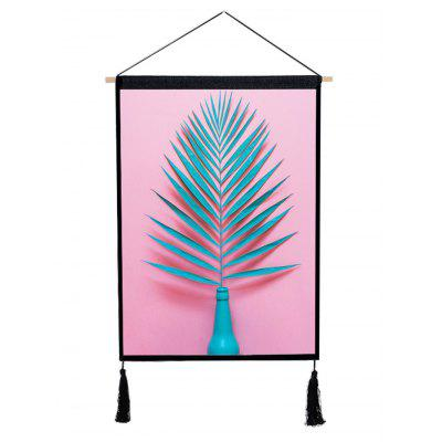 Plant Leaves in the Vase Printed Tassel Hanging Painting