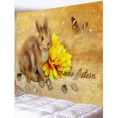 Rabbit Flower Butterfly Printed Wall Decor Tapestry
