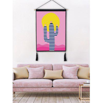 Cartoon Cactus Printed Wall Decor Tassel Hanging Picture