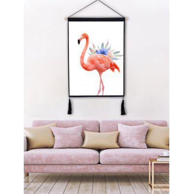 Flamingo Flower Printed Wall Art Tassel Hanging Picture