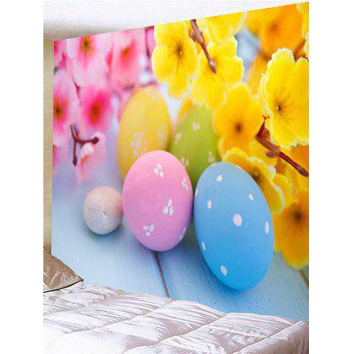 Flowers and Colorful Egg Shape Stones Printed Wall Tapestry