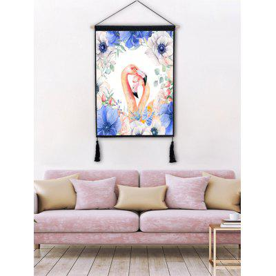 The Flamingos in the Flowers Printed Tassel Hanging Painting