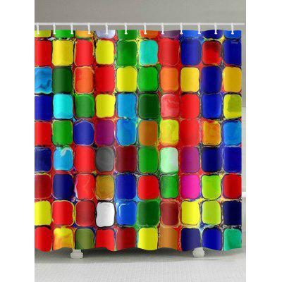 Color Blocks Pattern Polyester Shower Curtain