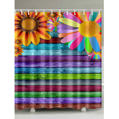 Sunflowers Colorful Wooden Board Printed Shower Curtain