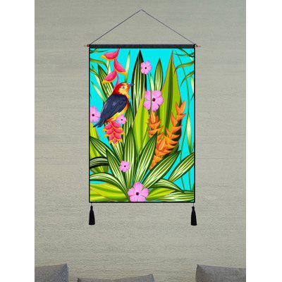 Bird Flower and Leaves Print Tassel Hanging Painting