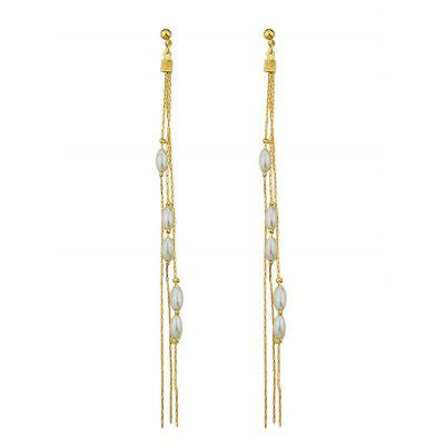 Chain Beads Drop Stud Earrings