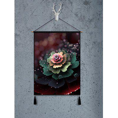 Flower with Morning Dew Printed Tassel Wall Art Hanging Painting