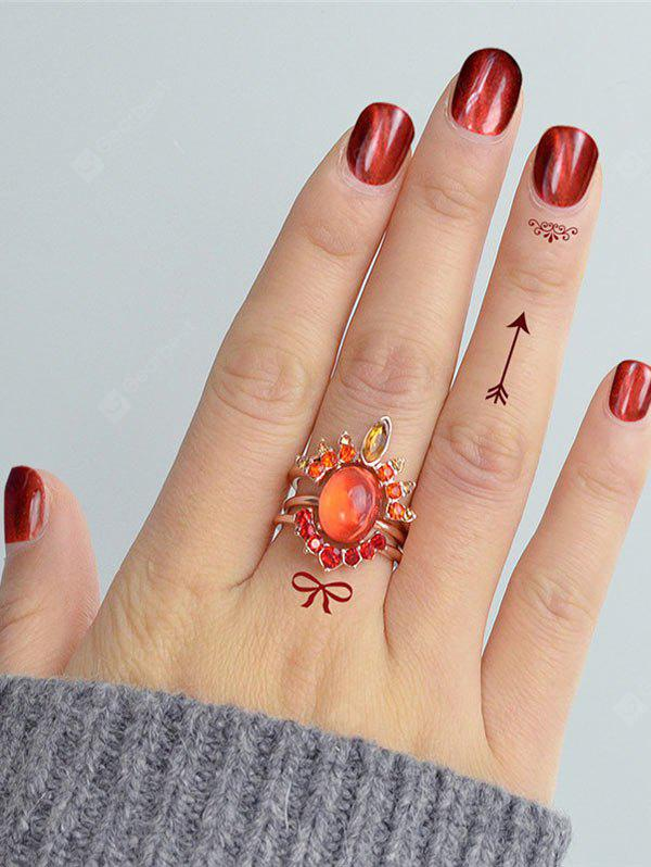 Rhinestone Oval Match Finger Ring Set
