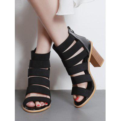 Back Zipper Block Heel Strap SandalsWomens Sandals<br>Back Zipper Block Heel Strap Sandals<br><br>Closure Type: Zip<br>Gender: For Women<br>Heel Height: 9CM<br>Heel Height Range: High(3-3.99)<br>Heel Type: Chunky Heel<br>Occasion: Casual<br>Package Contents: 1 x Sandals (pair)<br>Pattern Type: Solid<br>Sandals Style: Gladiator<br>Shoe Width: Medium(B/M)<br>Style: Elegant<br>Upper Material: PU<br>Weight: 1.5000kg