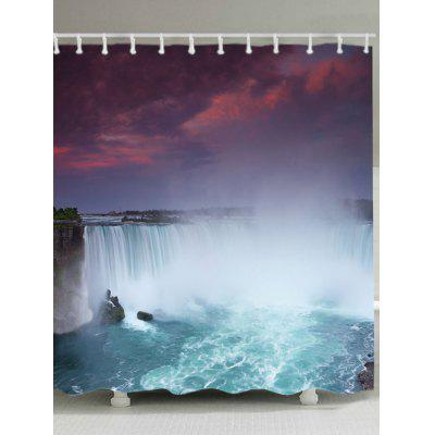 River Waterfall Print Waterproof Bath Curtain